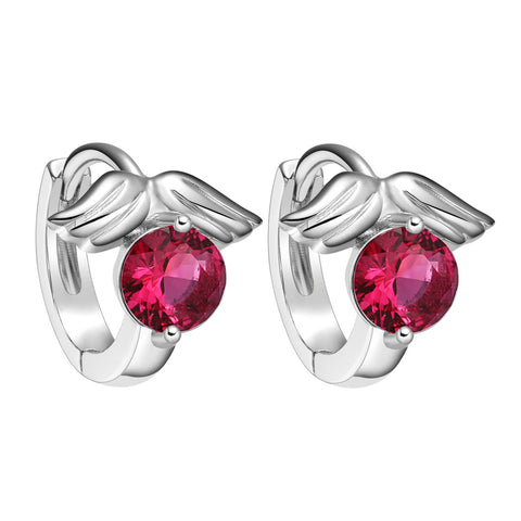 Tiny Small Cute Angel Wings Lucky Charm Royal Pink Crystal Silver-Tone Positive Energy Earrings