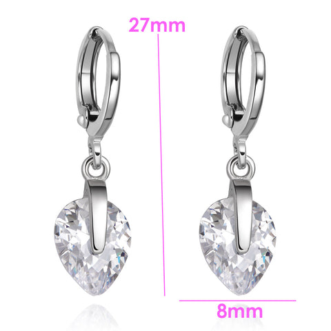 Beautiful Cute Teardrop Style Hearts Lucky Charms Silver-Tone White Crystals Fashion Earrings