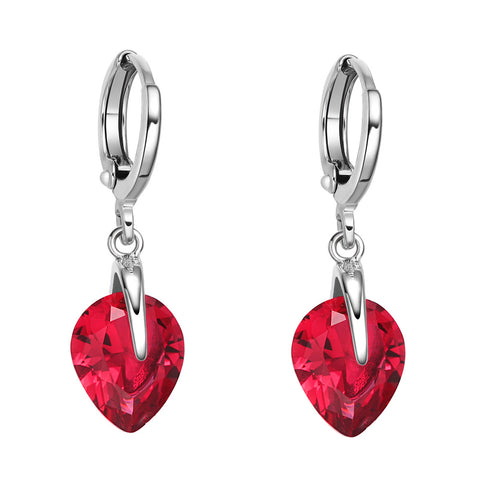 Beautiful Cute Teardrop Style Hearts Lucky Charms Silver-Tone Royal Red Crystals Magic Earrings