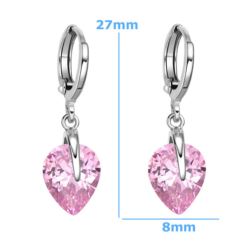 Beautiful Cute Teardrop Style Hearts Lucky Charm Silver-Tone Sweet Pink Crystals Magic Earrings