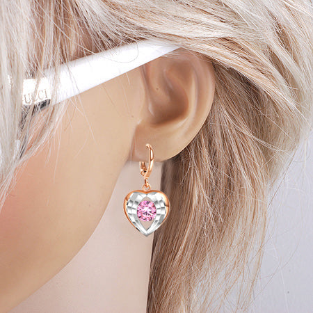Angel Wings Forming Unique Heart Lucky Charm Gold-Silver-Tone Sweet Pink Sparkling Crystal Earrings