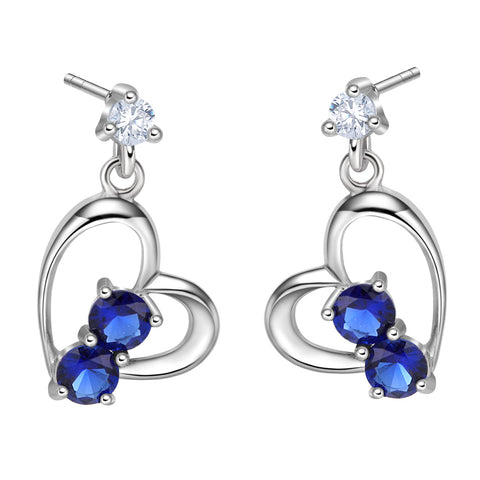 Infinite Powers of Love Uniquely Shaped Heart Amulets Royal Blue Sparkling Crystals Stud Earrings