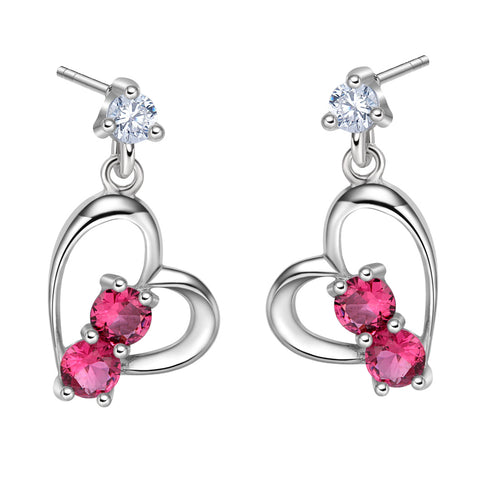 Infinite Powers of Love Uniquely Shaped Heart Amulets Royal Pink Sparkling Crystals Stud Earrings