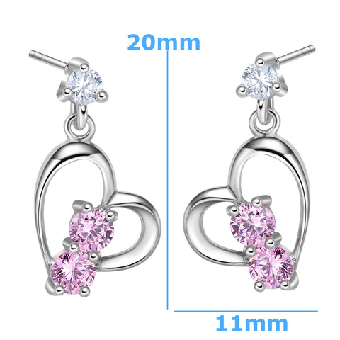 Infinite Powers of Love Uniquely Shaped Heart Amulets Sweet Pink Sparkling Crystals Stud Earrings
