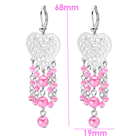 Magical Filigree Style Hearts Pink Simulated Pearl Charms Silver-Tone Magical Love Amulets Earrings