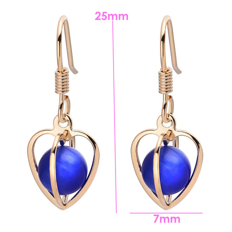 Magical Soul Heart Cage Spiritual Powers Simulated Royal Blue Cats Eye Gold-Tone Amulets Earrings