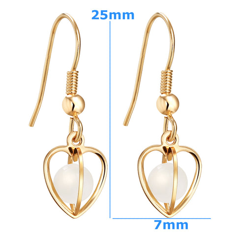 Magical Soul Heart Cage Spiritual Powers Snow White Simulated Cats Eye Gold-Tone Amulets Earrings
