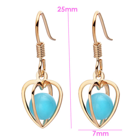 Magical Soul Heart Cage Spiritual Powers Simulated Blue Cats Eye Gold-Tone Charm Amulets Earrings
