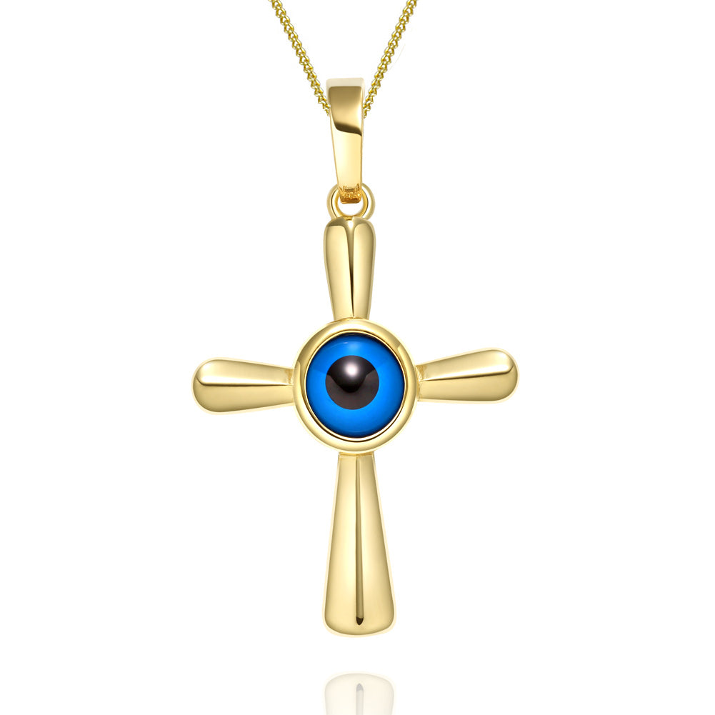 Magical Powers Cross Gold-Tone Evil Eye Protection Amulet