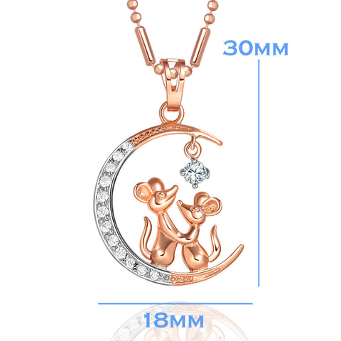 Love You to the Moon and Back Mouse Love Couple Gold-Silver-Tone Magical Amulet Crystals Necklace