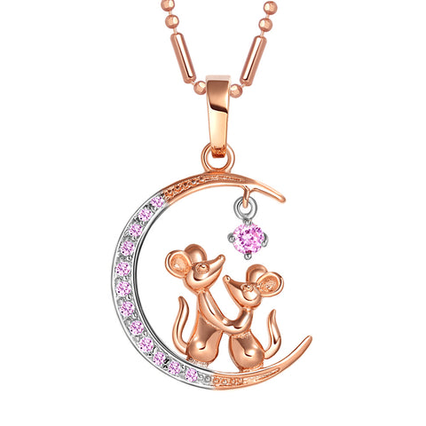 Love You to the Moon and Back Mouse Love Couple Amulet Gold-Silver-Tone Pink Crystals Necklace