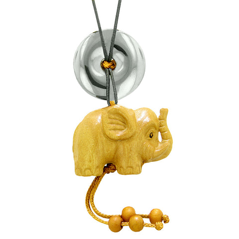 Baby Elephant Good Luck Car Charm or Home Decor Hematite Lucky Coin Donut Protection Magic Cute Amulet