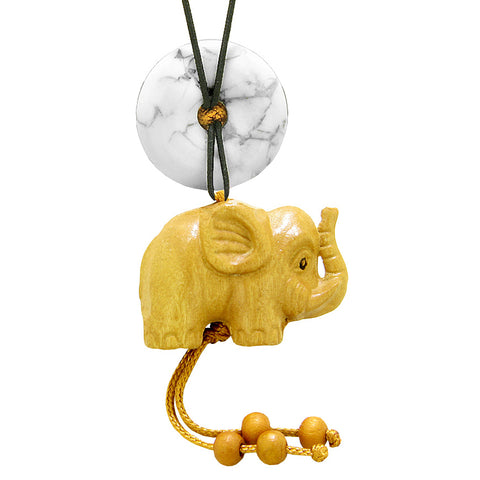 Baby Elephant Good Luck Car Charm or Home Decor White Howlite Lucky Coin Donut Protection Cute Amulet