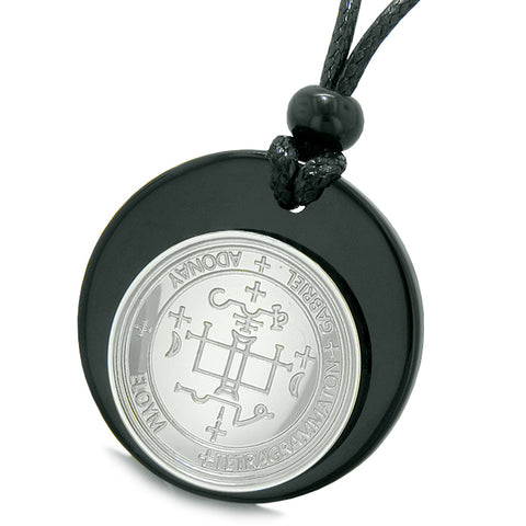 Unique Guardian Archangel Gabriel Sigil Amulet Medallion Protection Spiritual Powers Black Agate Necklace
