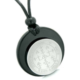 Unique Guardian Archangel Uriel Sigil Amulet Medallion Protection Spiritual Powers Black Agate Necklace