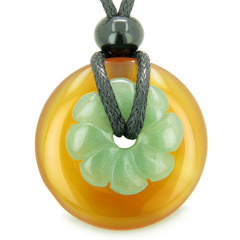 Double Lucky Amulet Magic Donut Flower Carnelian Green Aventurine ProtectiMoney Pendant Necklace