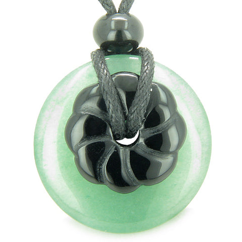 Double Lucky Amulet Magic Donut Flower Green Aventurine Black Onyx Spiritual Money Pendant Necklace