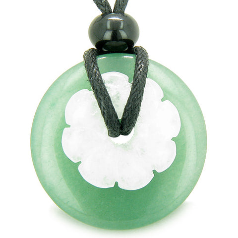 Double Lucky Amulet Magic Donut Flower Green Aventurine Jade Protection Money Pendant Necklace