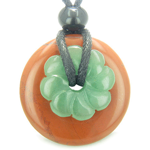 Double Lucky Amulet Magic Donut Flower Red Jasper Green Aventurine Believe Money Pendant Necklace
