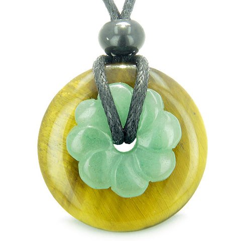 Double Lucky Amulet Magic Donut Flower Tiger Eye Green Aventurine Protection Money Pendant Necklace