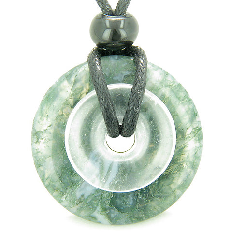 Astrological Capricorn Amulet Double Lucky Donuts Green Moss Agate Quartz Zodiac Pendant Necklace
