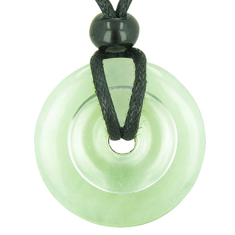 Astrological Cancer Amulet Double Lucky Donuts Green Jade Quartz Gemstones Zodiac Pendant Necklace