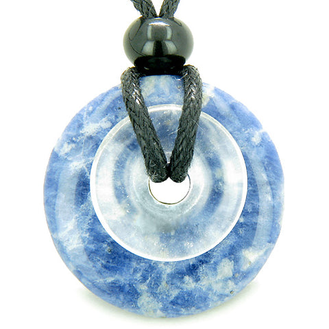 Astrological Sagittarius Amulet Double Lucky Donuts Sodalite Rock Quartz Zodiac Pendant Necklace