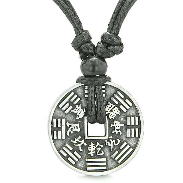 Amulet Lucky Coin Double Sided BA GUA Balance Energy Pewter Charm Pendant on Adjustable Necklace