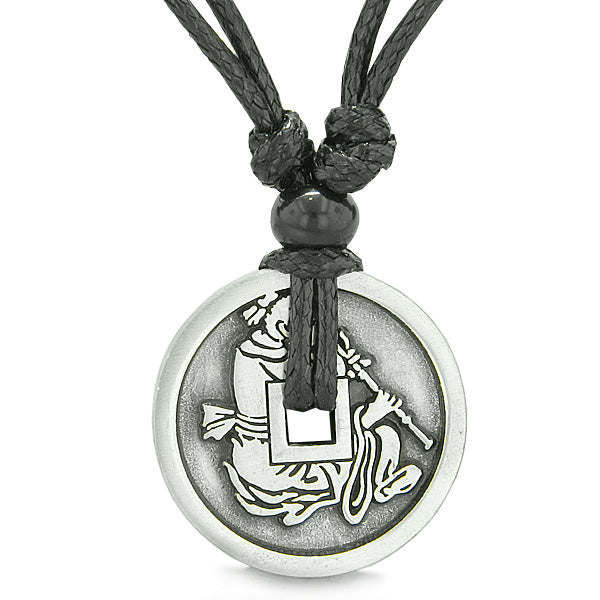 Amulet Lucky Coin Double Sided Magic Monarch Energy Pewter Charm Pendant on Adjustable Necklace