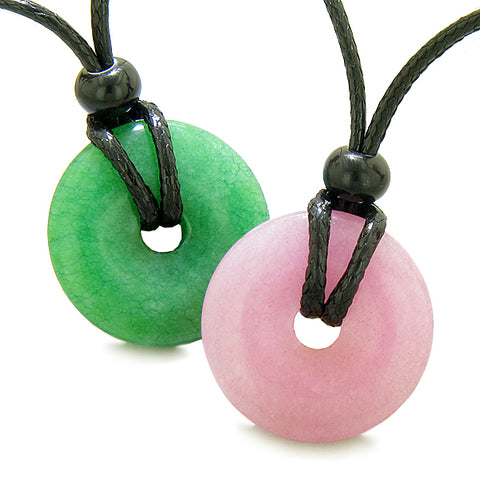 Yin Yang Energy Best Friends Love Couples Lucky Coin Donuts Green Pink Quartz Amulet Necklaces
