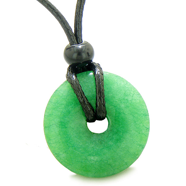 Amulet Lucky Coin Shaped Donut Green Quartz Charm Magic and Protection Powers Necklace
