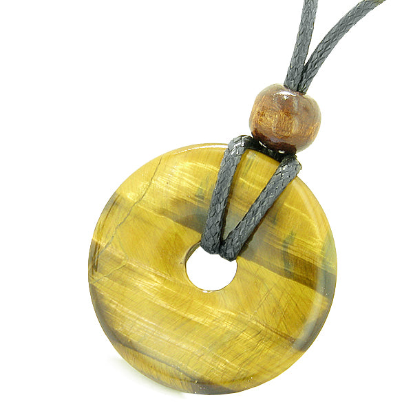 Amulet Magic Large Coin Shaped Donut Positive Powers Tiger Eye Healing Lucky Charm Necklace