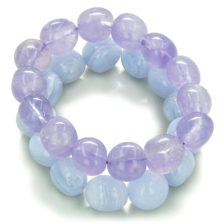 Amulet Double Lucky Set Amethyst Blue Lace Agate Tumbled Crystals Good Luck Gemstone Bracelets