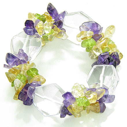 Amulet Faceted Rock Quartz Crystals Peridot Citrine Amethyst Evil Eye Protection Powers Bracelet