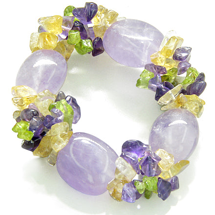 Amulet Healing Tumbled Amethyst Crystal with Peridot Citrine Amethyst Chips Powers Bracelet