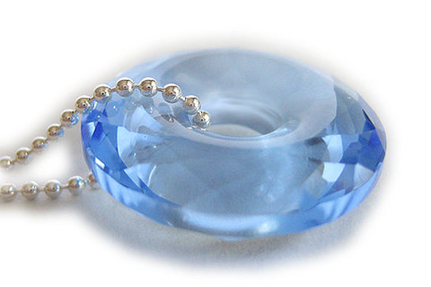 Evil Eye Protection Faceted Sky Blue Rock Crystal Donut & Chain