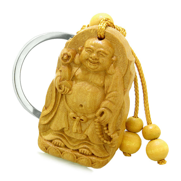 Amulet Laughing Buddha Blooming Lotus Magic Powers Charms Feng Shui Symbols Keychain Set Blessings