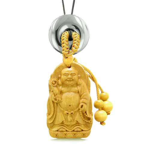 Laughing Buddha Blooming Lotus Car Charm or Home Decor Hematite Coin Donut Protection Powers Amulet