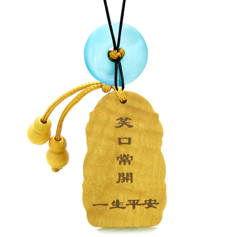 Laughing Buddha Blooming Lotus Car Charm Home Decor Blue Simulated Cats Eye Donut Protection Amulet