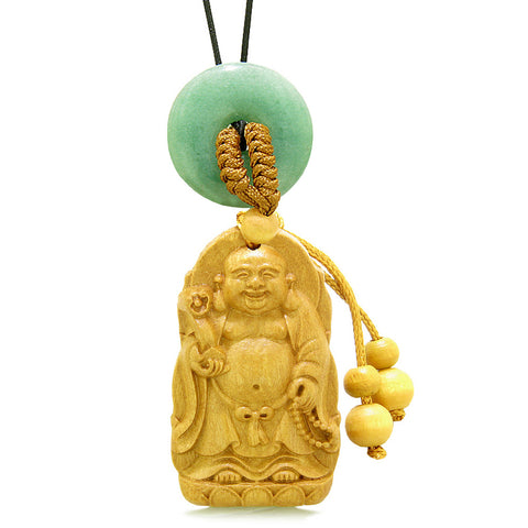 Laughing Buddha Blooming Lotus Car Charm Home Decor Green Quartz Coin Donut Protection Amulet
