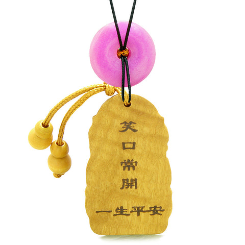 Laughing Buddha Blooming Lotus Car Charm Home Decor Pink Quartz Coin Donut Protection Powers Amulet