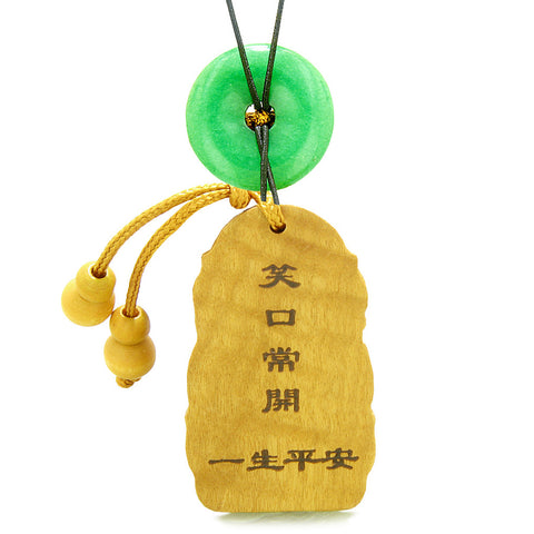 Laughing Buddha Blooming Lotus Car Charm Home Decor Green Quartz Coin Donut Protection Power Amulet