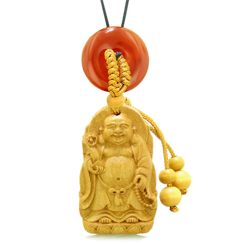 Laughing Buddha Blooming Lotus Car Charm Home Decor Carnelian Coin Donut Protection Powers Amulet