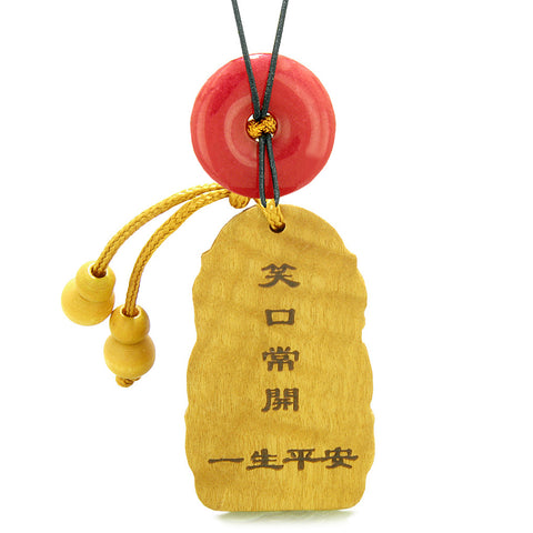 Laughing Buddha Blooming Lotus Car Charm Home Decor Red Quartz Coin Donut Protection Powers Amulet