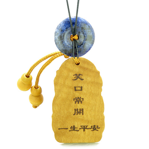 Laughing Buddha Blooming Lotus Car Charm or Home Decor Sodalite Coin Donut Protection Powers Amulet