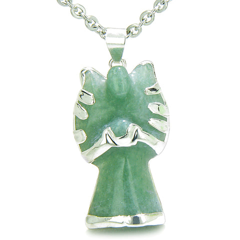 Brazilian Crystal Praying Angel Charm Green Aventurine Good Luck Powers Amulet Pendant Necklace