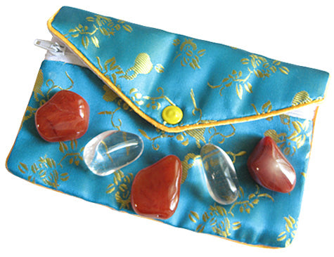 Protection From Evil Eye Pouch In Carnelian And Crystals