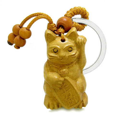 Amulet Fortune Maneki Neko Cat Good Luck Charm Protection Powers Feng Shui Keychain Blessing