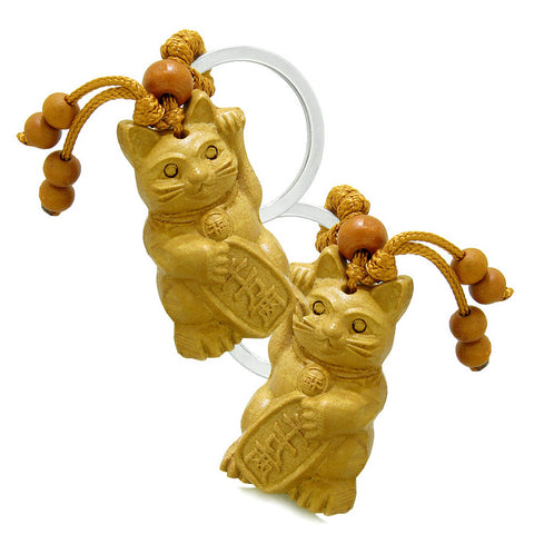 Amulet Fortune Maneki Neko Cat Good Luck Charm Protection Powers Feng Shui Keychain Set Blessings
