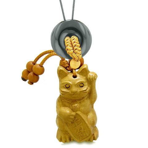Maneki Neko Fortune Cat Car Charm or Home Decor Black Agate Lucky Coin Donut Protection Powers Amulet